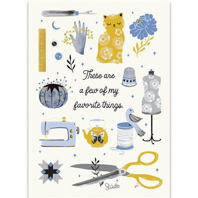 """ART PRINTS FAVORITE SEWING 5"""" X 7"""" BY CRAFTEDMOON FOR MODA - MINIMUM OF 3"""