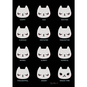 "ART PRINTS CAT MOODS 5"" X 7"" BY CRAFTEDMOON FOR MODA - MINIMUM OF 3"